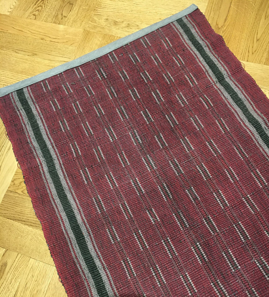 long vintage hungarian rips rug runner floor hall carpet dark red black grey corridor mat 4.28m long