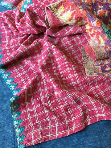 pink purple orange colourful vintage kantha throw quilt bedcover floral pattern