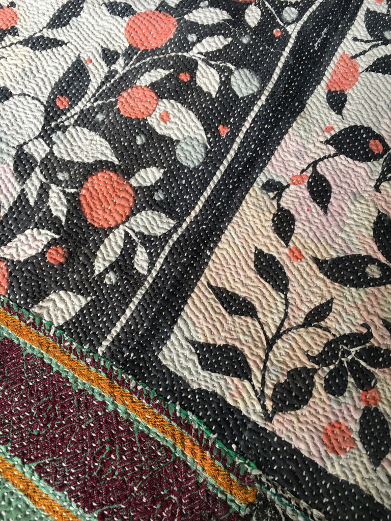 vintage indian kantha quilt throw bedcover bedspread cotton pale green flowers