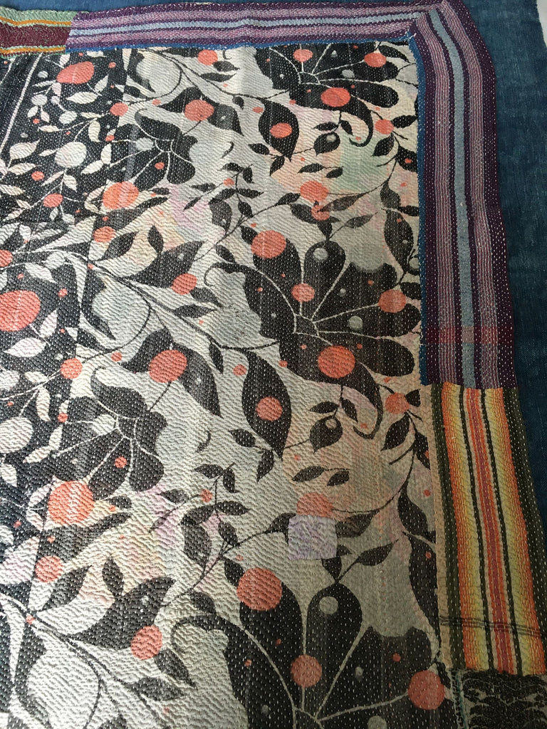 vintage indian kantha quilt throw bedcover bedspread cotton pale green flowers sari quilt