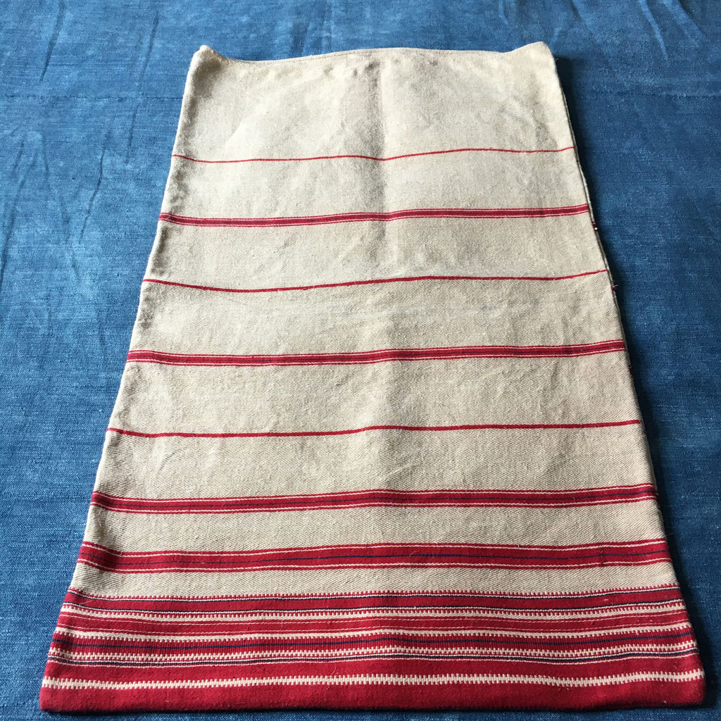 Pair of red stripe cotton cushion covers