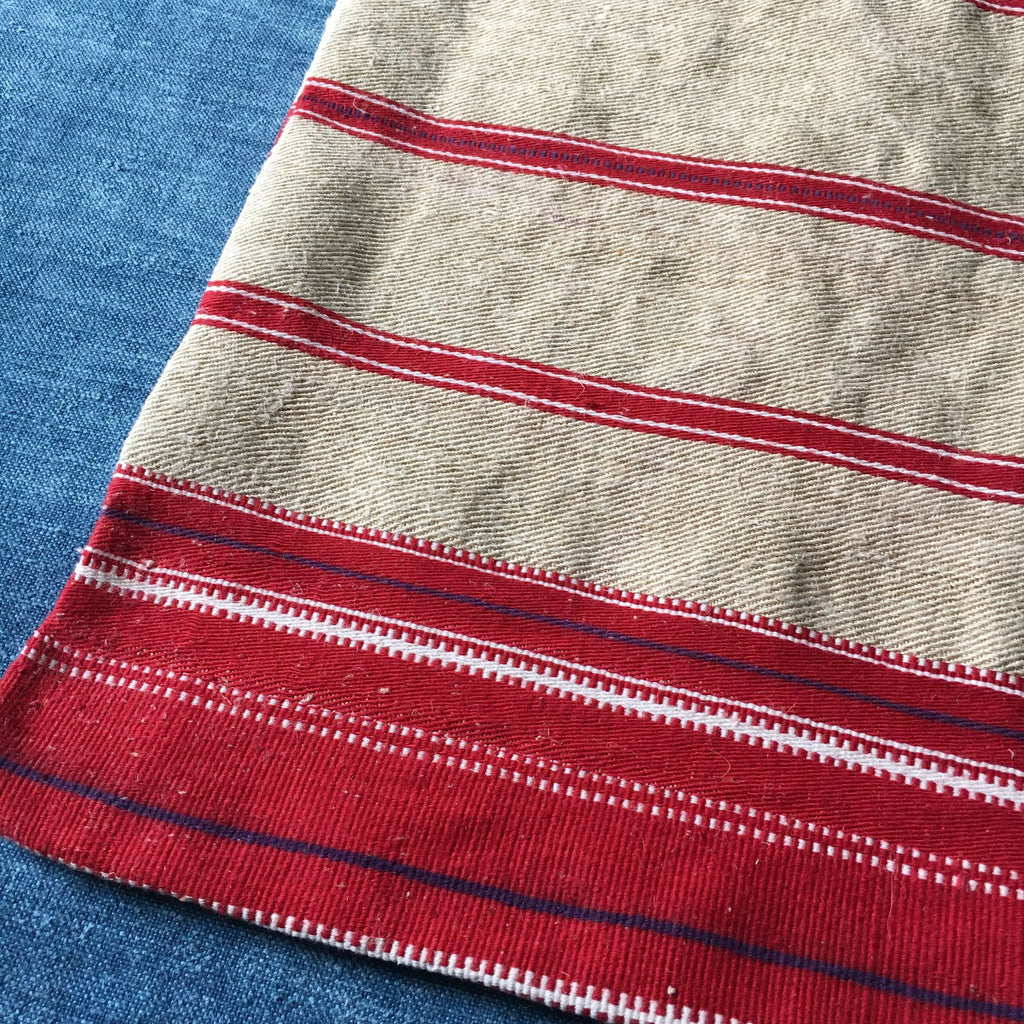 Long piece of red stripe French ticking perfect for seat covers