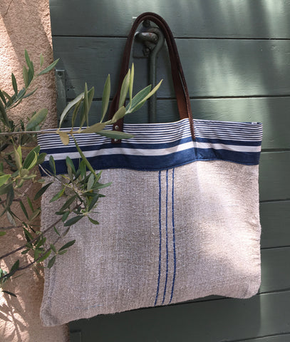 Blue stripe grain sack tote