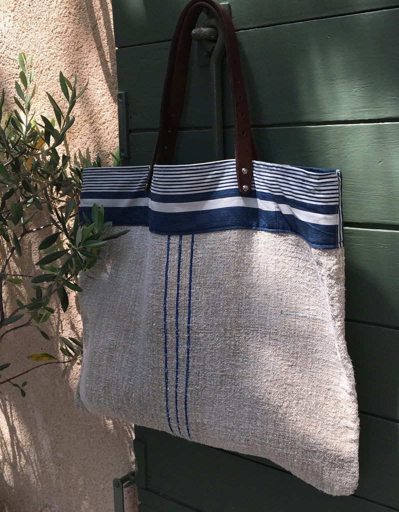 French Blue stripe grain sack beach bag with recycled leather handles