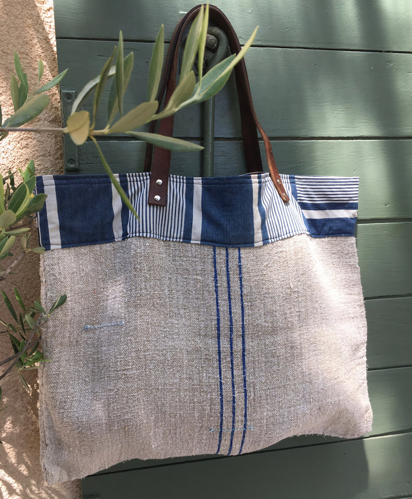 Large market tote with blue stripe and leather handles