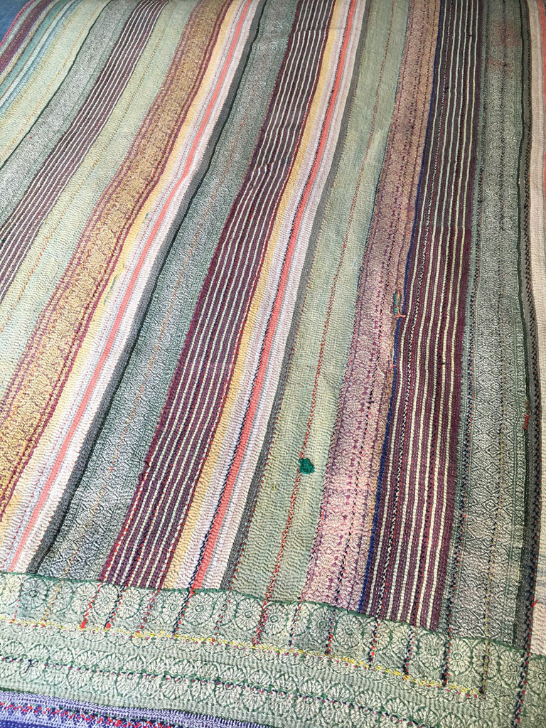 hand made striped vintage kantha throw quilt bedcover bedspread blue green single double  comforter