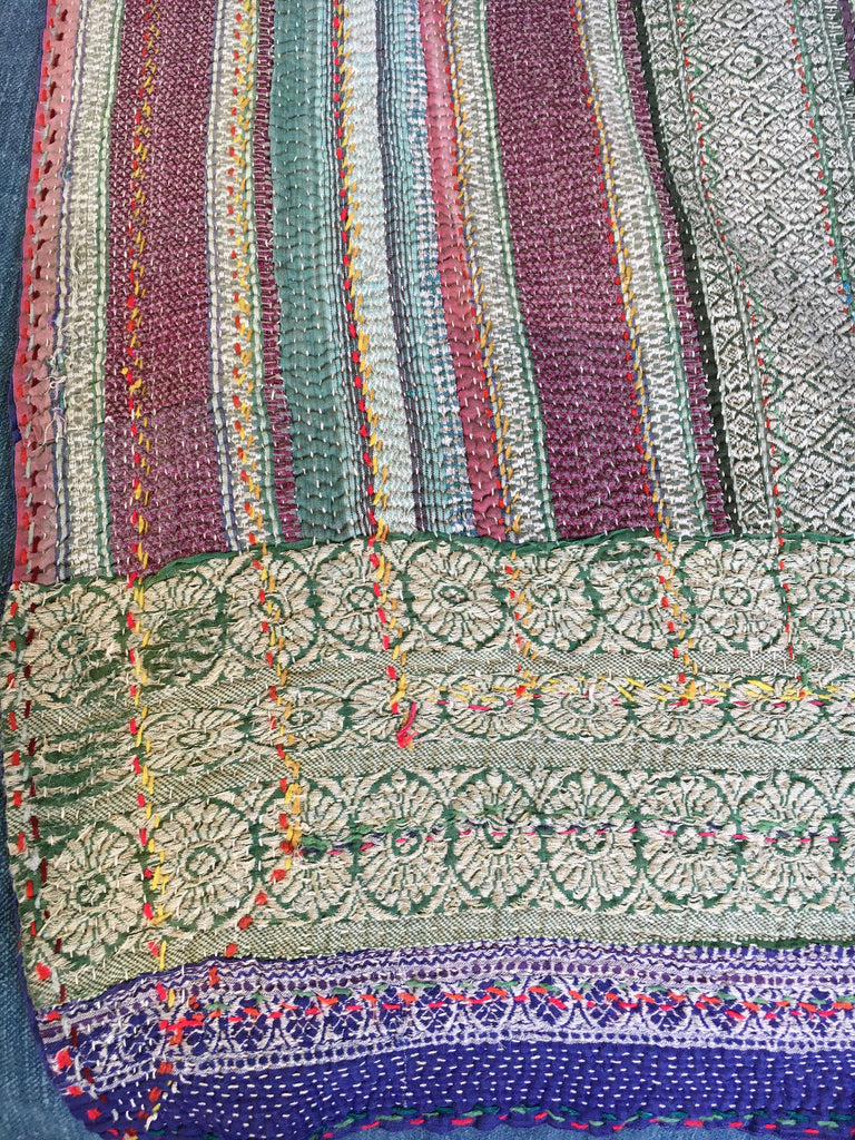 hand made striped vintage kantha throw quilt bedcover bedspread blue green double throw washable