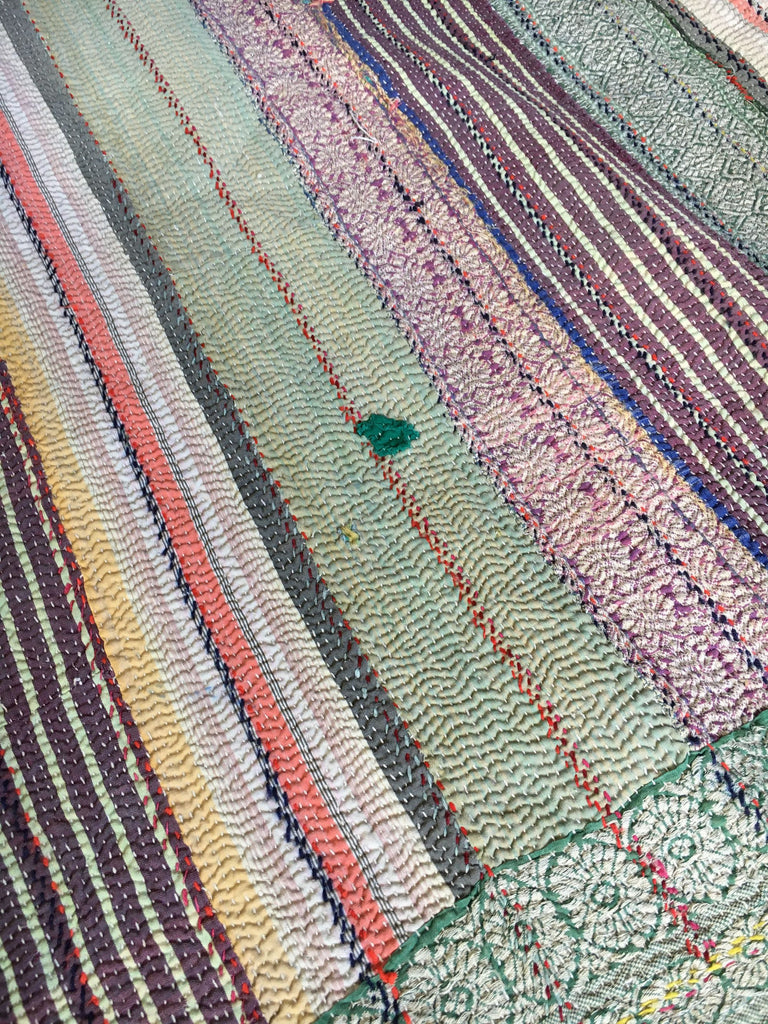 hand made striped vintage kantha throw quilt bedcover bedspread blue green single double throw