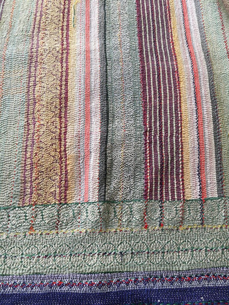 reversible hand made striped vintage kantha throw quilt bedcover bedspread blue green single