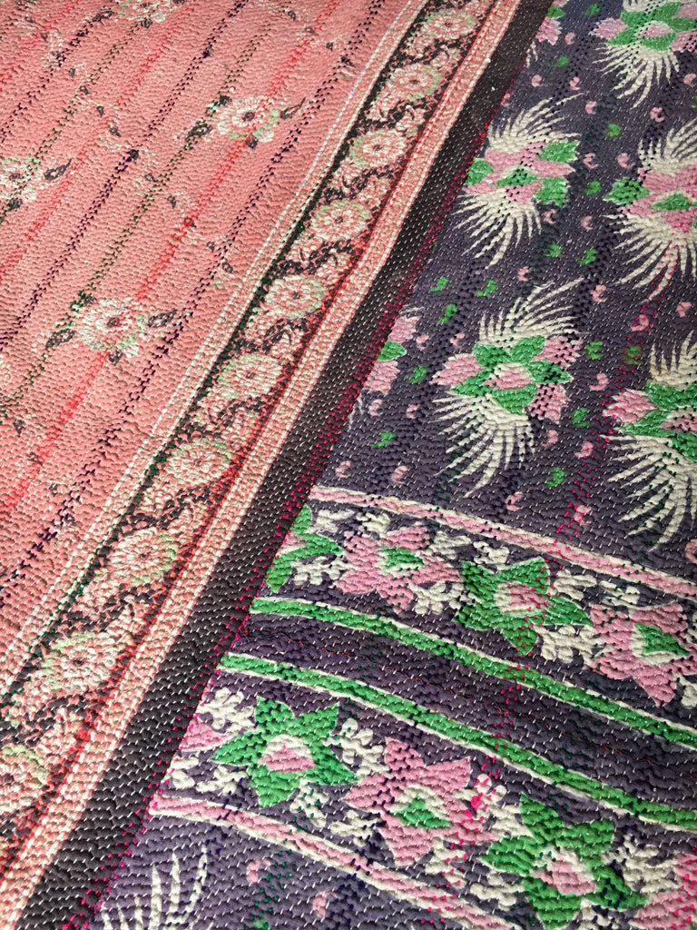 vintage indian kantha throw quilt bedspread dusky pink suffolk purple machine washable cotton