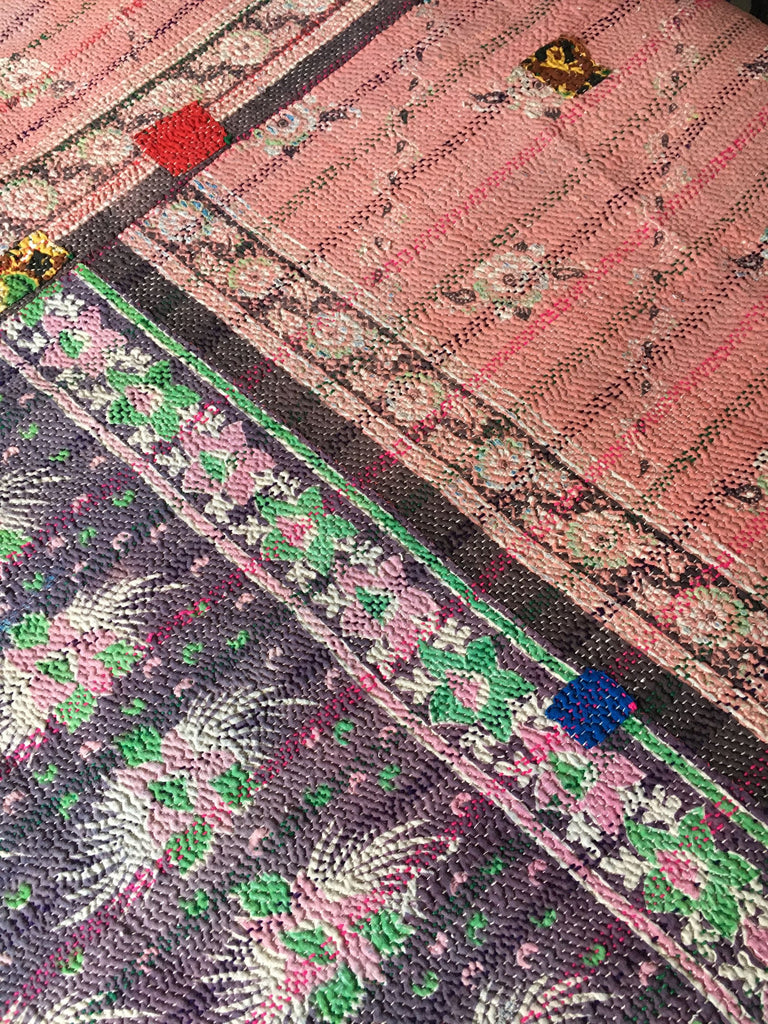 pretty vintage indian kantha throw quilt bedspread dusky pink suffolk purple bedspread doona