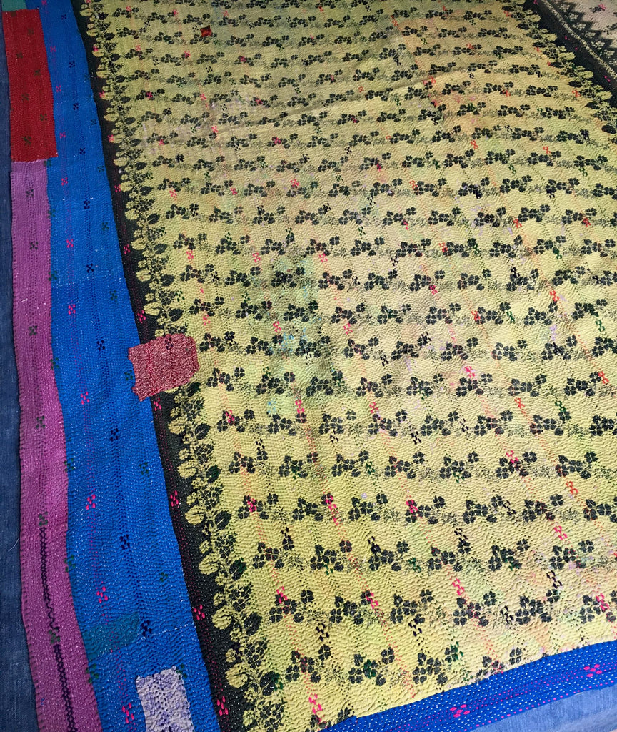 vintage indian kantha throw quilt bedspread dusky pink suffolk purple yellow colourful reversible