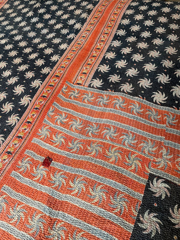 Antique Provencal Quilt. Pretty pique in blue and red print.