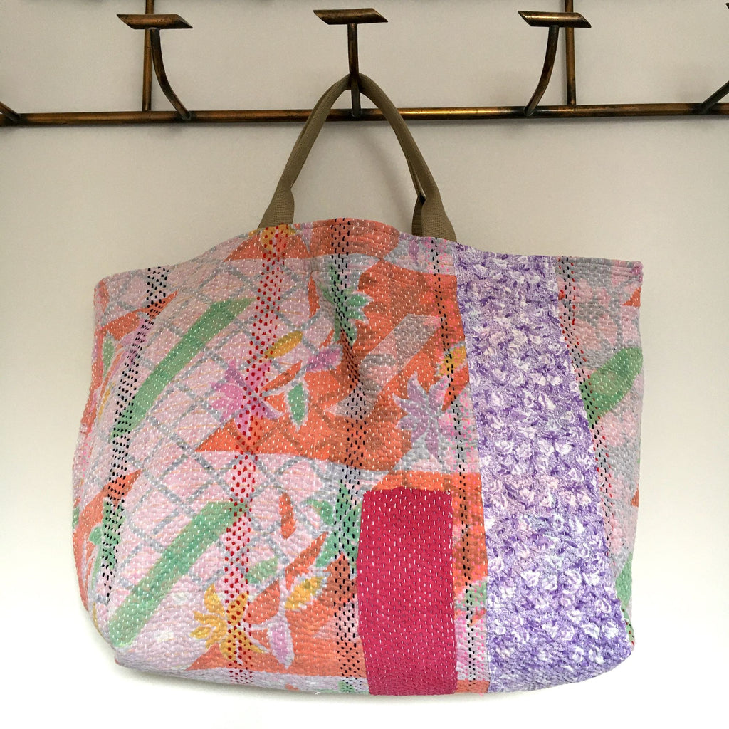 orange pink green kantha bag overnight beach weekend storage handmade uk tote shopper purse