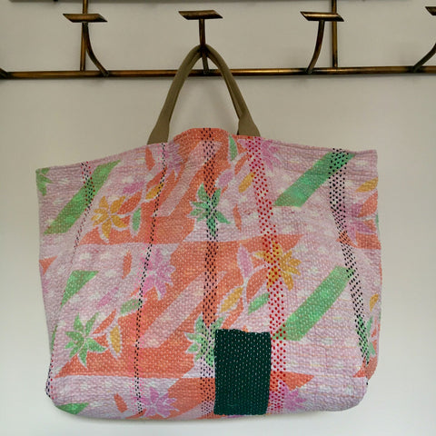 orange pink green kantha bag overnight beach weekend storage handmade uk Rebecca's aix Home