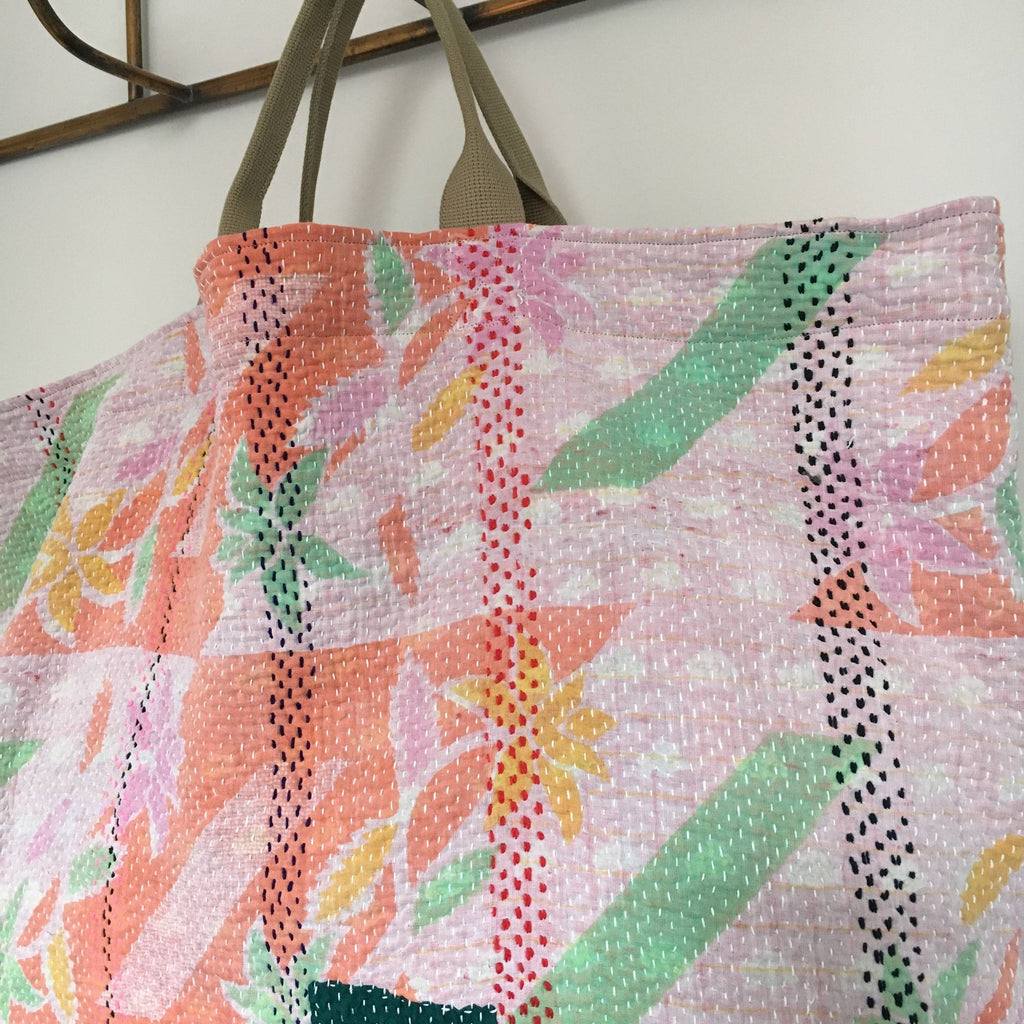 cotton orange pink green kantha bag overnight beach weekend storage handmade uk large