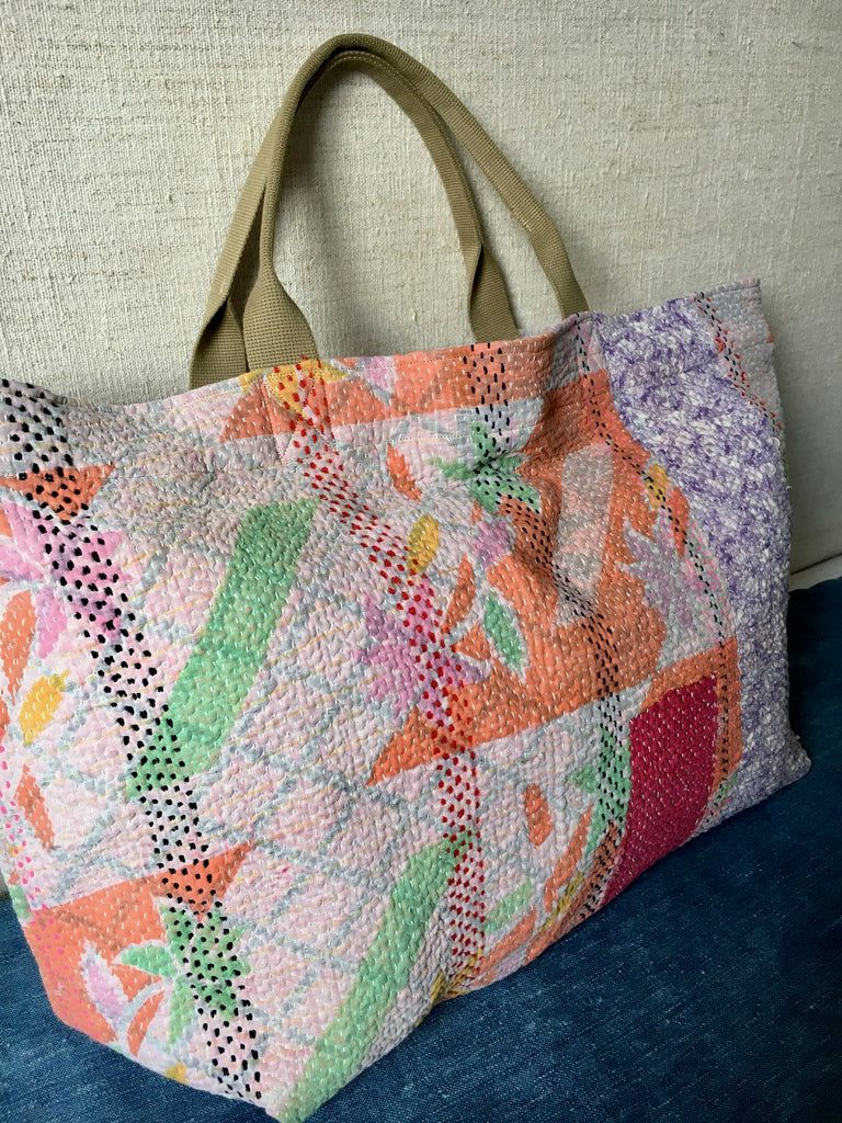 orange pink green kantha bag overnight beach weekend storage handmade uk tote market bag shopper