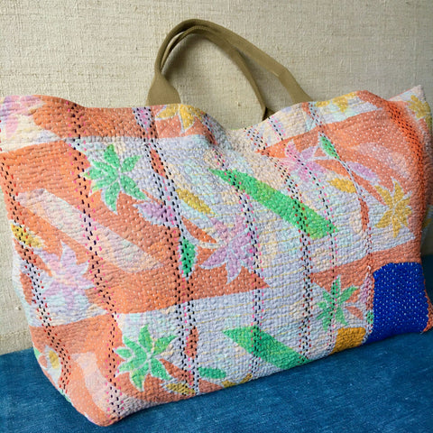 pink green orange summer bag overnight weekend bag patch kantha bag embroidered colourful tote