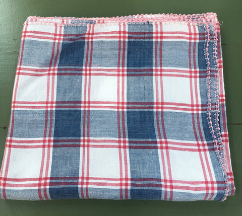 Alsace kelch tablecloth. Antique French cloth with blue and red check