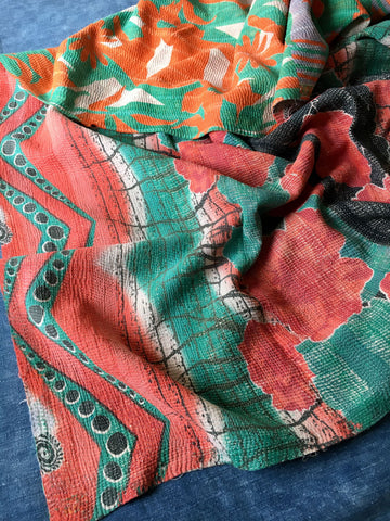 red green orange kantha quilt throw bedspread cotton Rebecca's aix Home