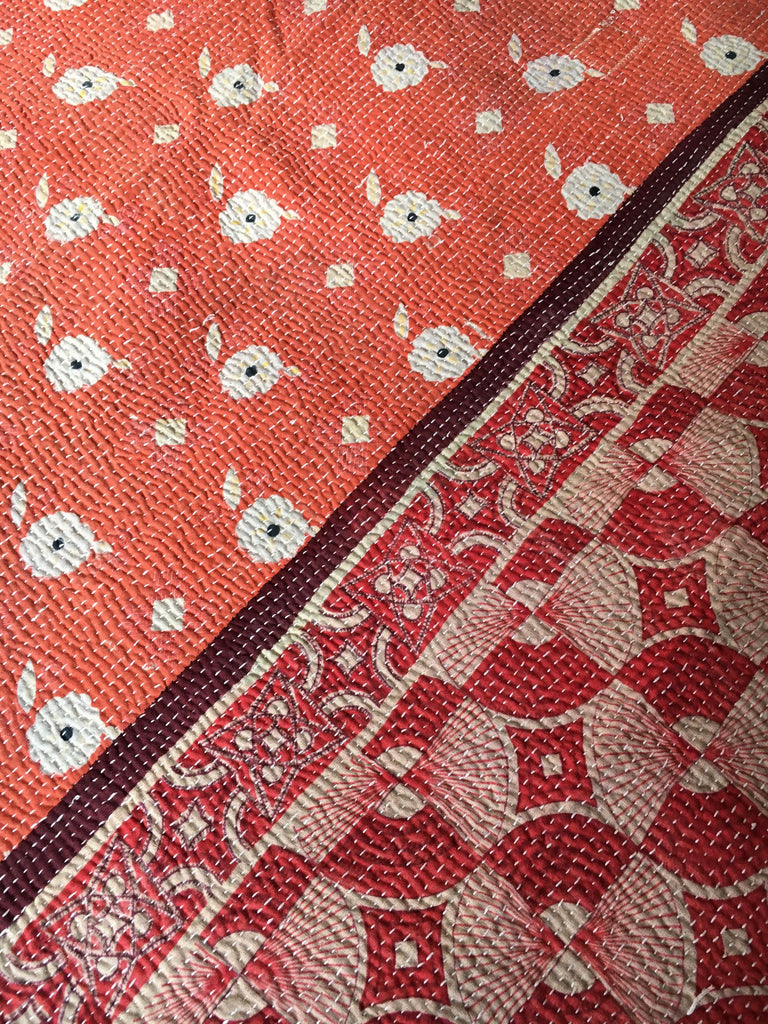 large coral rust pink kantha quilt throw sofa bedspread bedcover king size