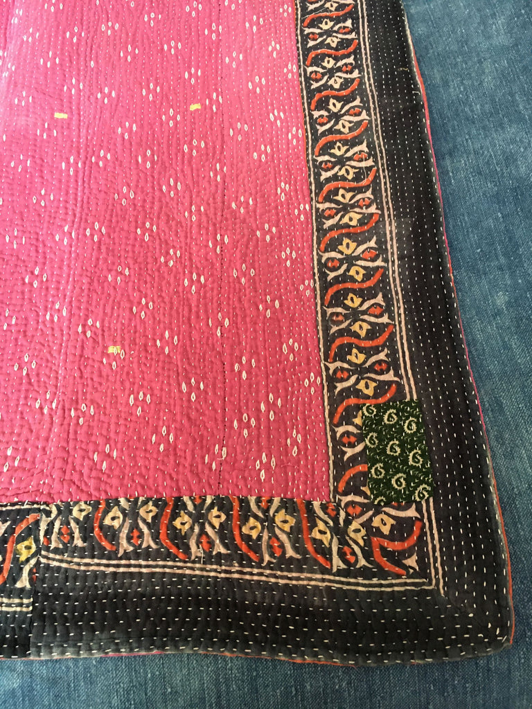 coral rust pink kantha quilt throw sofa bedspread bedcover comforter large king queen