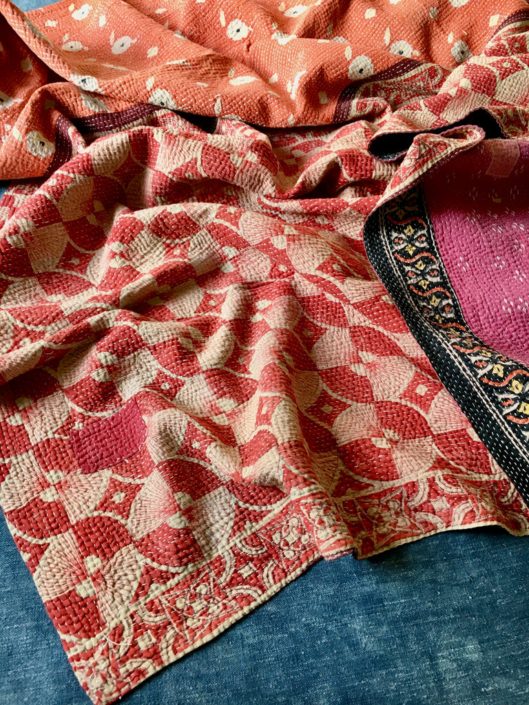 coral rust pink kantha quilt throw sofa bedspread bedcover Rebecca's Aix Home