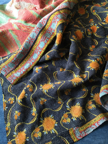 black yellow orange blue check kantha quilt throw bedcover bedspread
