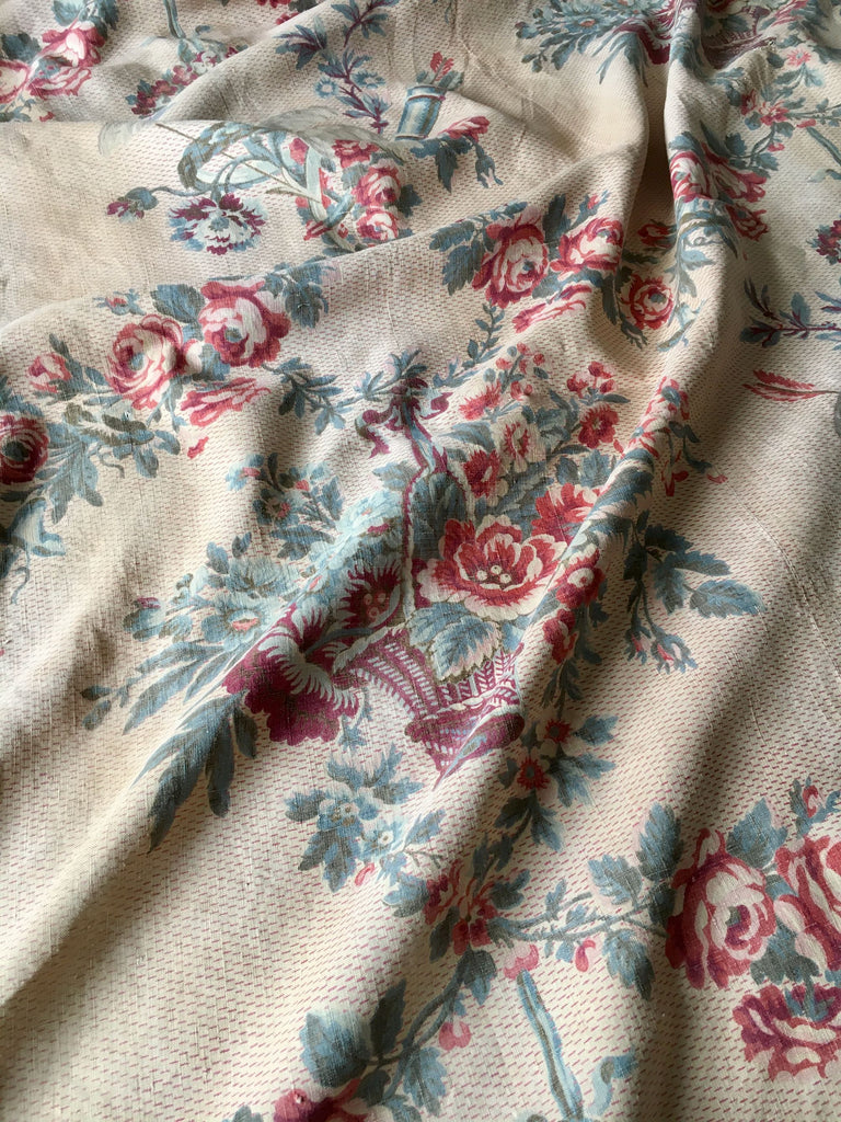 antique french linen floral fabric panel roses garlands doves Rebecca's Aix Home