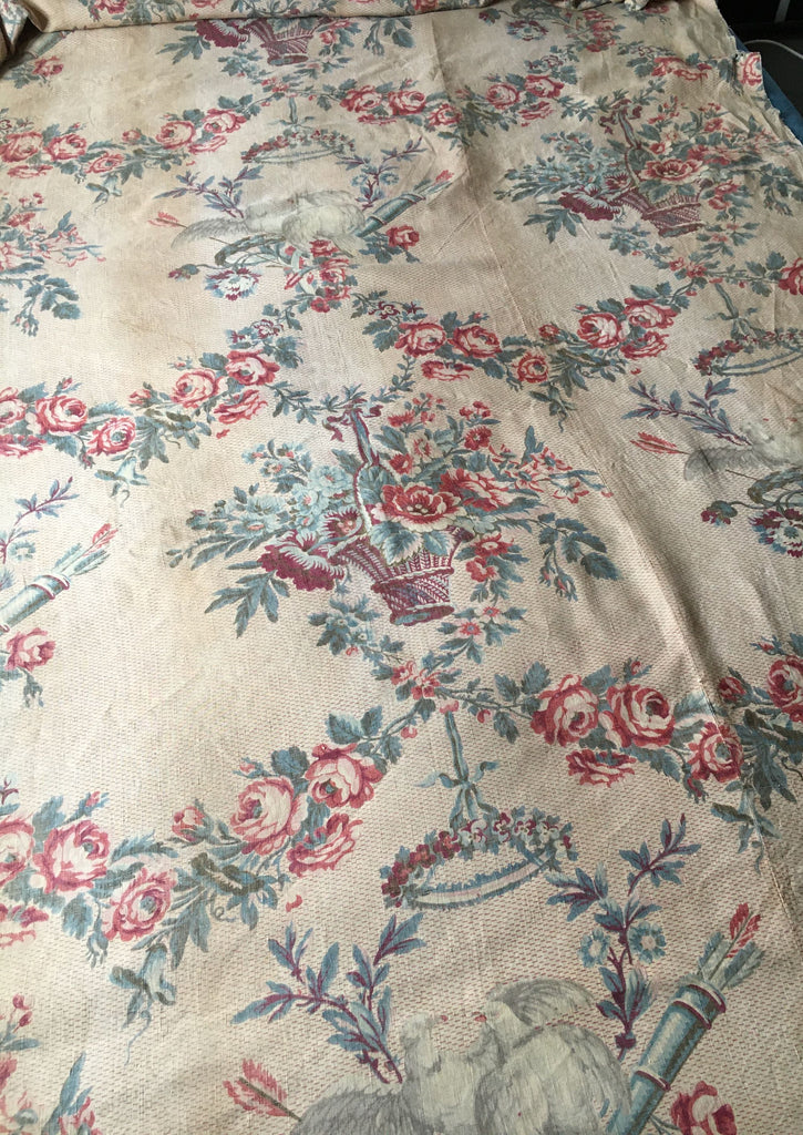 antique french linen floral fabric panel roses garlands doves soft muted colours