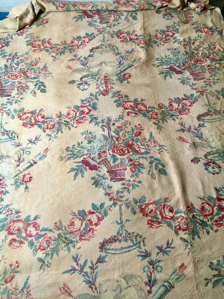 antique french linen floral fabric panel roses garlands doves natural soft colours