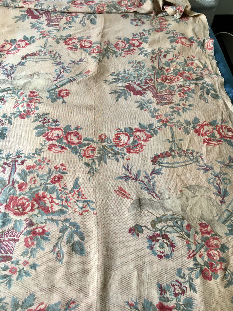 antique french linen floral fabric panel roses garlands doves textiles collectors piece