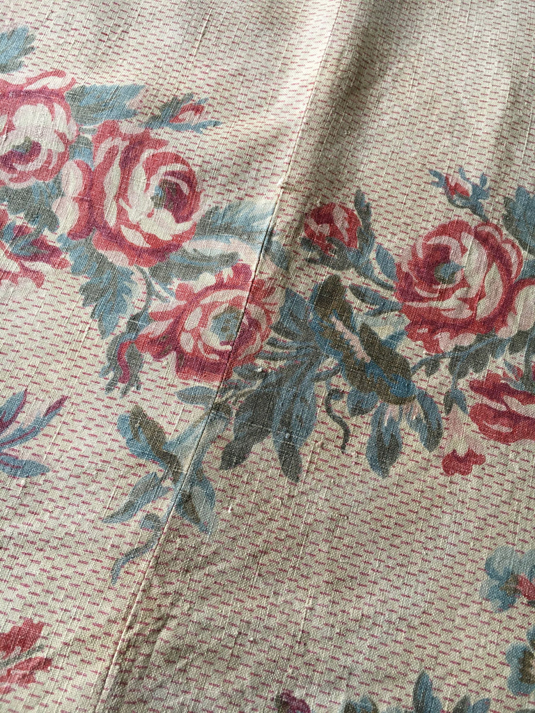 antique french linen floral fabric panel roses garlands doves beautiful curtain length