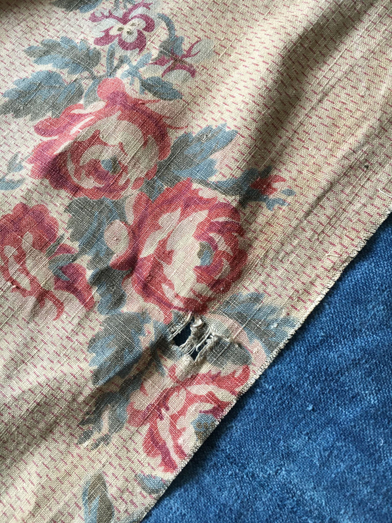 antique french linen floral fabric panel roses garlands doves heirloom textiles