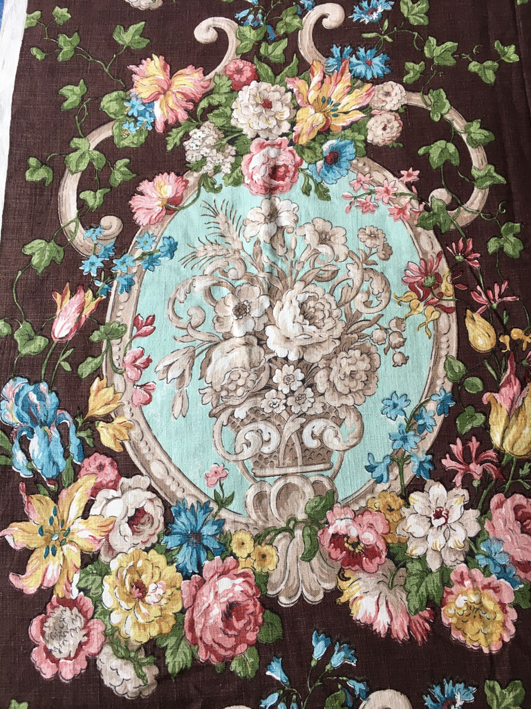 Vintage Floral Heavyweight Linen Fabric
