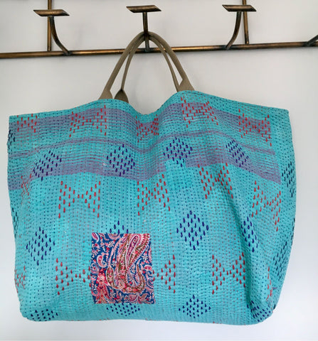 large tote kantha bag beach weekend fabric blue handmade Rebecca's aix Home