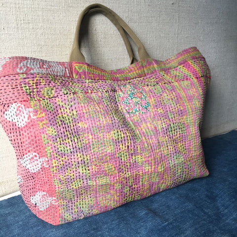 pink yellow floral cotton tote beach bag weekend overnight shopper tote handmade  Rebecca's aix Home