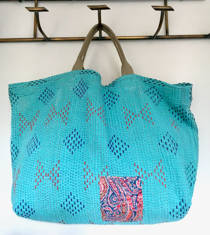 handmade kantha bag beach weekend tote shopper large toy bag storage fabric turquoise blue