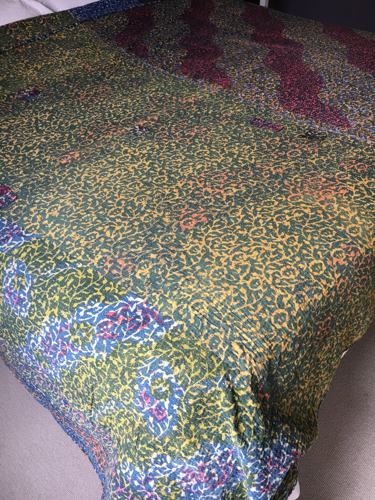 indigo blue super king size kantha bedspread by Rebecca's Aix Home