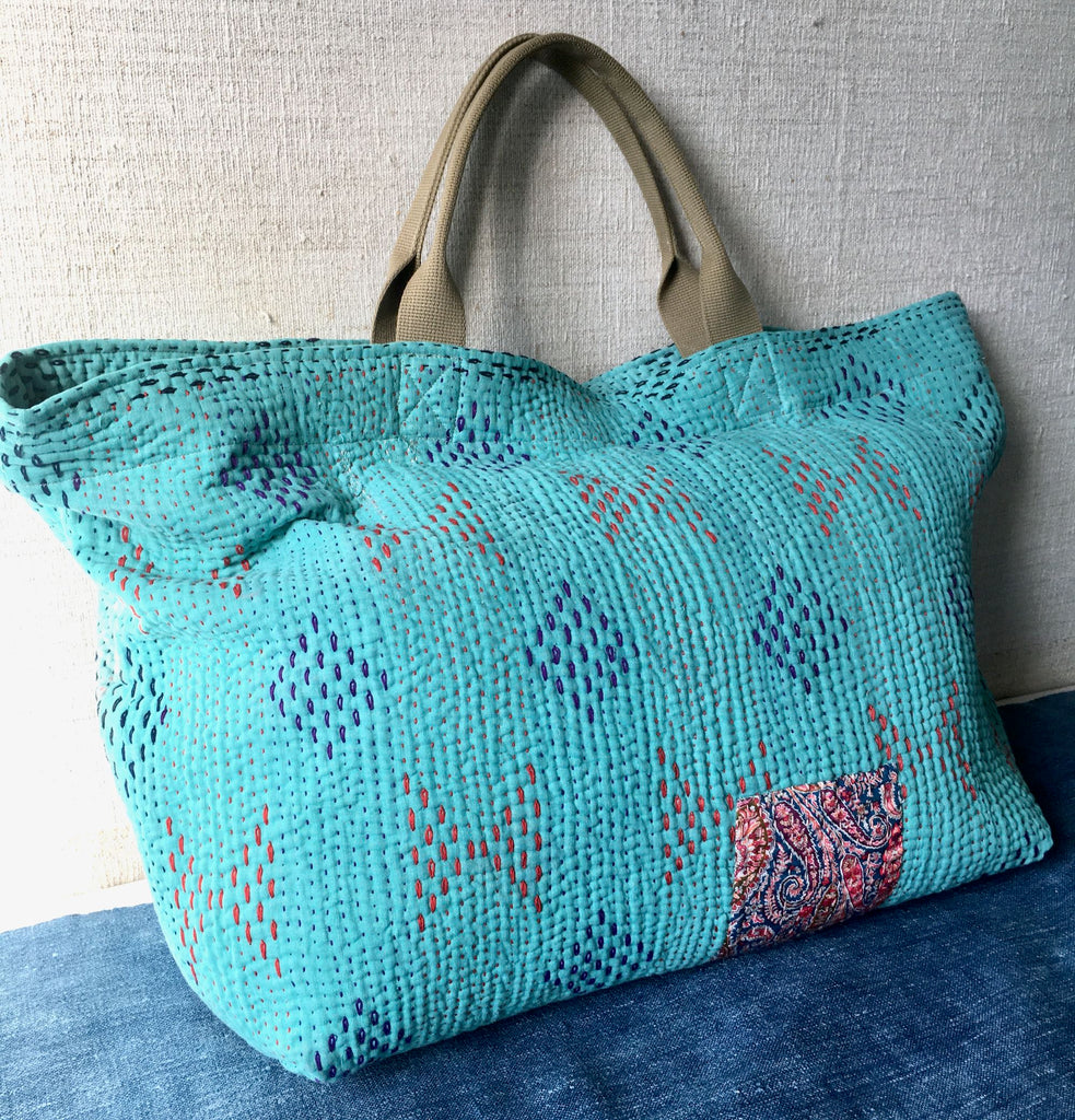 handmade kantha bag beach weekend tote shopper large toy bag storage fabric liberty print patch
