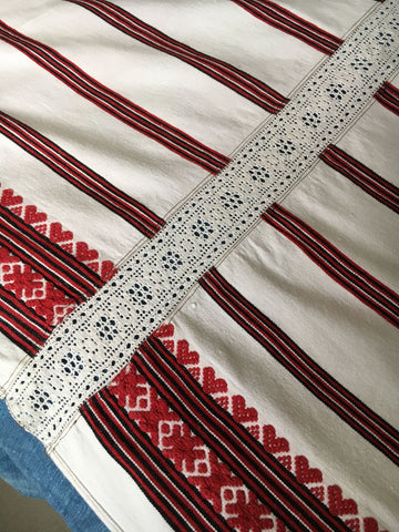red white black hearts crochet cotton hand loomed cover bedspread curtain fabric cotton