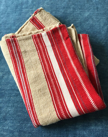 striped vintage grain sack textiles hemp burlap red and beige cushion mat rug upholstery fabric