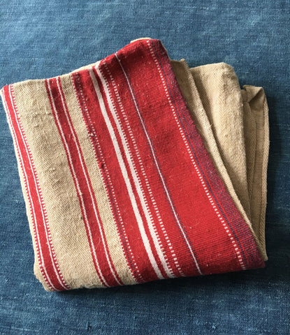 vintage striped red white beige garden cushion bath mat rug hemp upholstery fabric