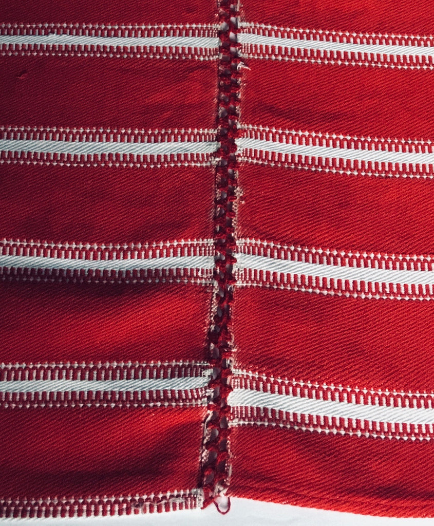 red and white stripe vintage fabric with central crochet join