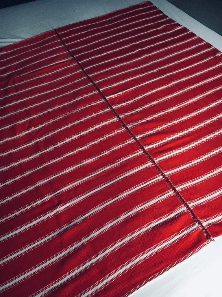 red and white stripe vintage fabric from Eastern Europe