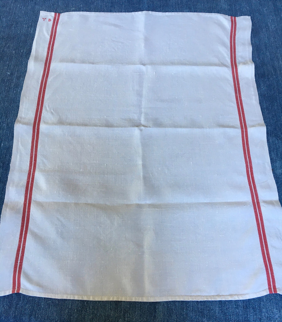 antique french torchon red stripe dishcloth monogrammed TD