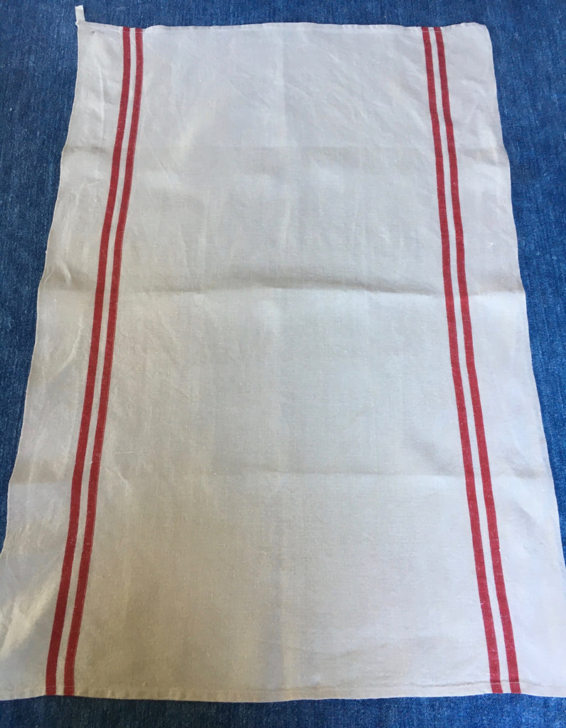 french torchons or  tea towels with red stripe natural unbleached linen