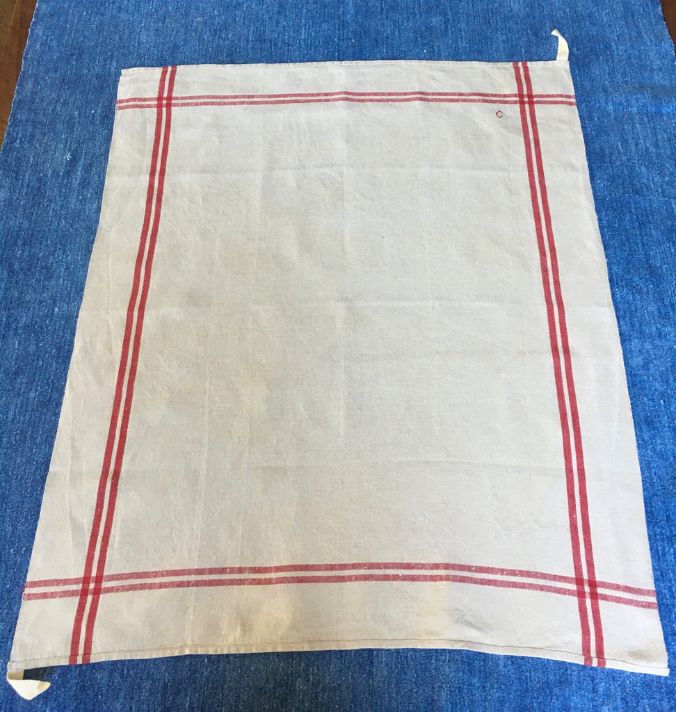 red stripe vintage French torchons, linen dish  cloths, rustic tea towels monogrammed C