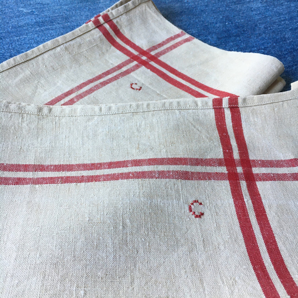 red stripe vintage French torchons, dish  cloths, rustic tea towels embroidered with initial  C