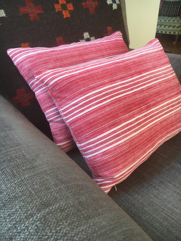 red striped cushion cover in vintage fabric